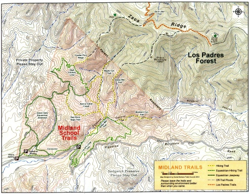 Midland School Trails map birabent canyon los padres national forest Figueroa Mountain Road hiking Grass Mountain Zaca Peak
