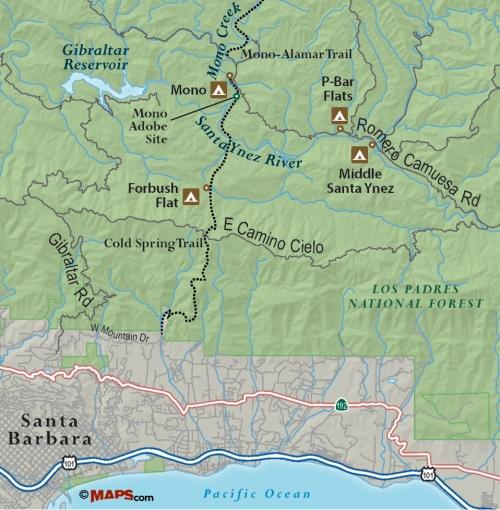 Los Padres National Forest Mono Adobe Creek Trail Santa Barbara hike map