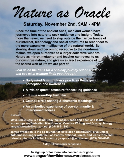Vision Quest ecopsychology mindfulness wilderness retreat Santa Barbara workshop nature