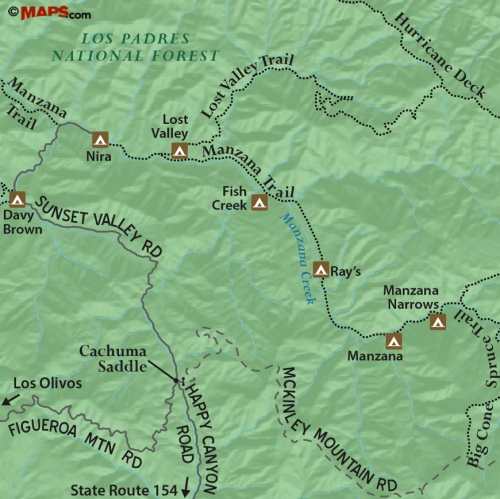 Manzana Creek Trail map San Rafael Wilderness Los Padres National Forest Ray's Fish Camp Nira Lost Valley Hurricane Deck