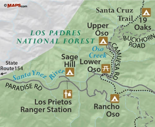 Lower Oso Campground Los Padres National Forest Rancho Upper Santa Cruz trail hike Barbara map