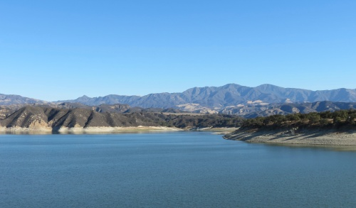 The San Rafael Mountains are in seen in a view across the lake