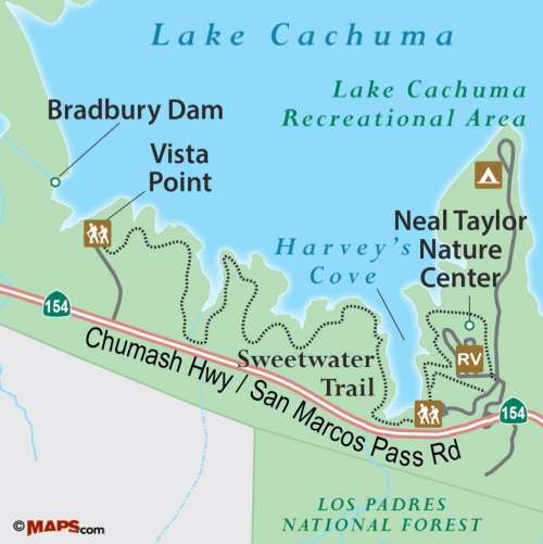 Sweetwater Trail map Lake Cachuma Santa Barbara hike camping