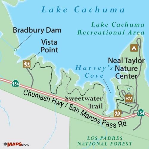 Sweetwater Trail map Lake Cachuma Santa Barbara hike camping