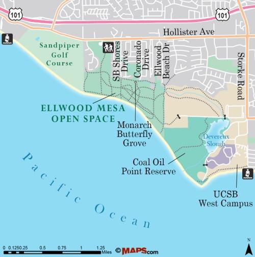 Ellwood Mesa Open Space map trail hike Santa Barbara Goleta Sperling Preserve