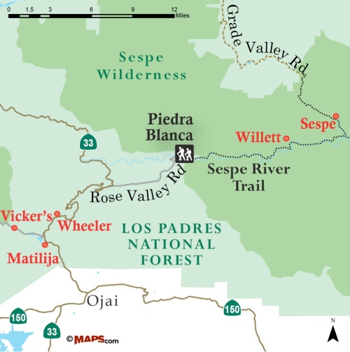 Vicker's Ojai Wheeler Matilija Willet Sespe Hot Springs trail map hike directions Los Padres National Forest campground camping