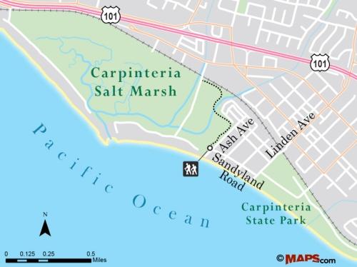 Carpinteria Salt Marsh map trail hike Santa Barbara