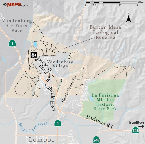 Burton Mesa Ecological Reserve map trail hike Lompoc Vandenberg Village