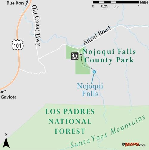 Nojoqui Falls County Park map trail Santa Barbara hike
