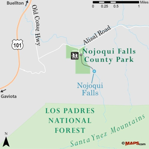 Nojoqui Falls County Park map trail Santa Barbara hike