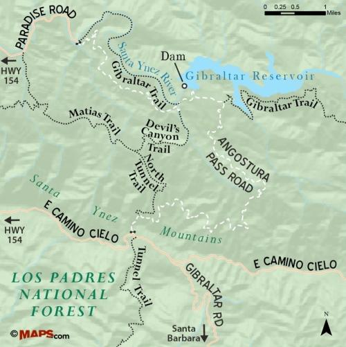 Devil's Canyon trail map hike Santa Barbara Los Padres National Forest Angostura Pass Road