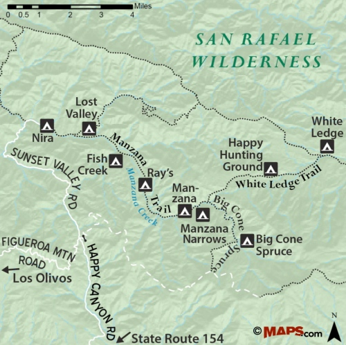 map los padres national forest manzana creek trail san rafael wilderness lost valley nira big cone spruce white ledge ray's camp narrows fish