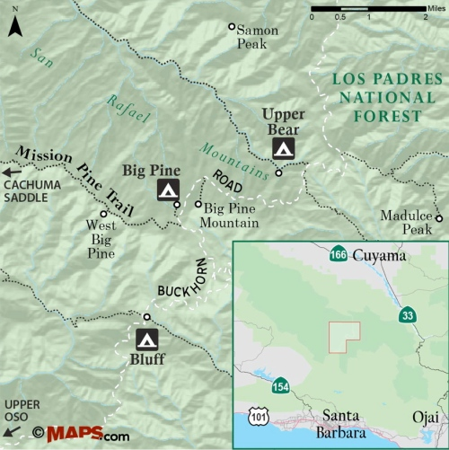 map Big Pine Mission Pine Trail Los Padres National Forest