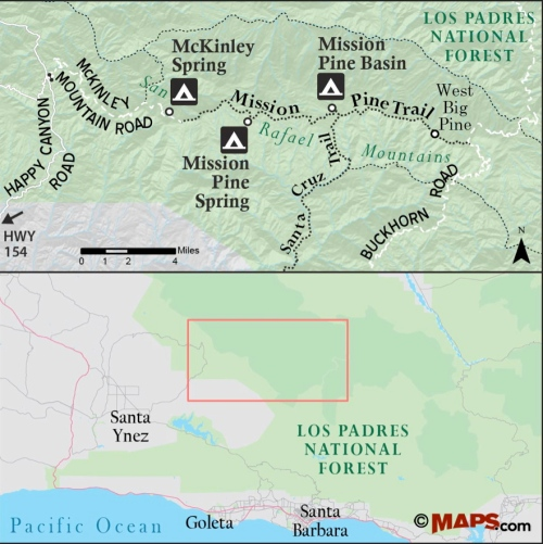map los padres national forest mission pine trail spring basin san rafael wilderness