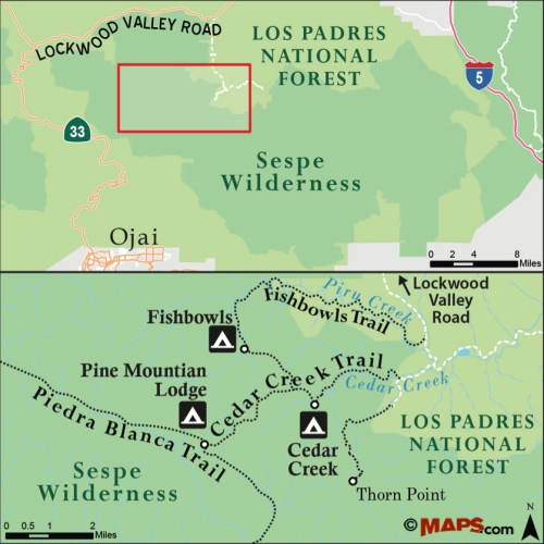 map cedar creek fishbowls sespe wilderness grade valley road piru creek los padres national forest