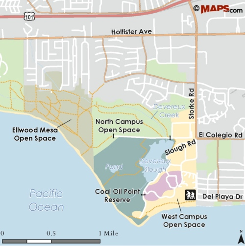 map Coil Oil Point Reserve Isla Vista Goleta hiking trail Sands Beach Devereux Slough North Campus Open Space