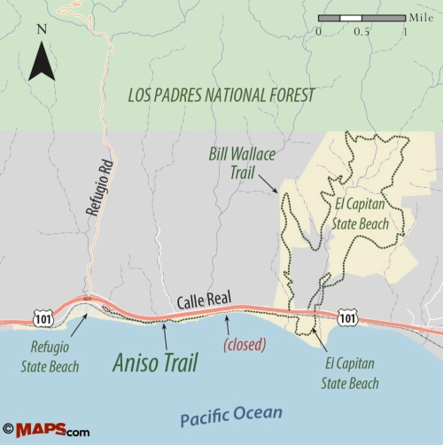 map El Capitan Refugio State Beach walk hike Santa Barbara