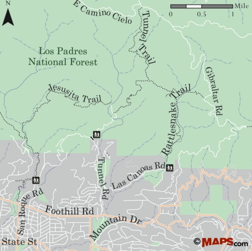 map Los Padres National Forest Stevens Park Jesusita Trail Inspiration Point Seven Falls Rattlesnake Gibrlatar