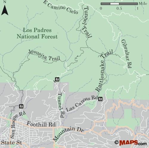 map Los Padres National Forest Stevens Park Jesusita Trail Inspiration Point Seven Falls Rattlesnake Gibrlatar