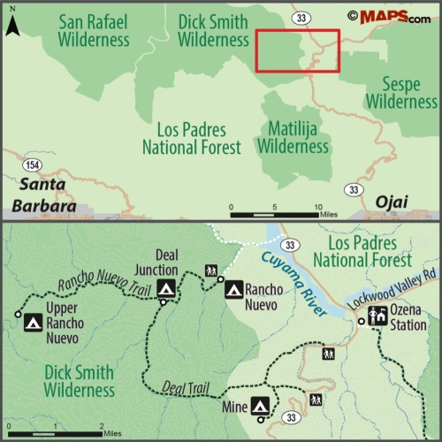 map Dick Smith Wilderness Rancho Nuevo Los Padres National Forest