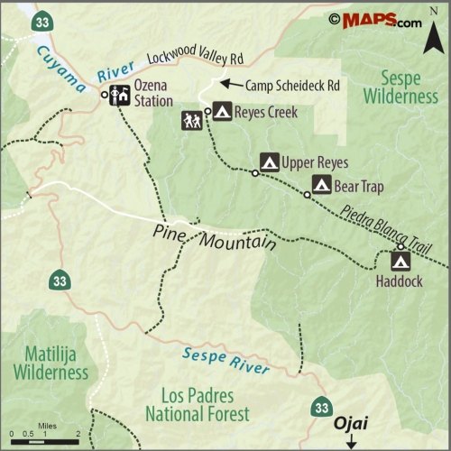 map Reyes Creek Gene Marshall Piedra Blanca trail hike bear trap canyon