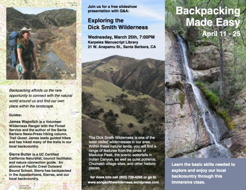 Backpacking made easy workshop hiking trails Santa Barbara Los Padres National Forest