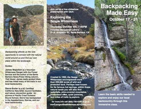 Backpacking class workshop Santa Barbara Ventura Ojai Trails los padres national forest