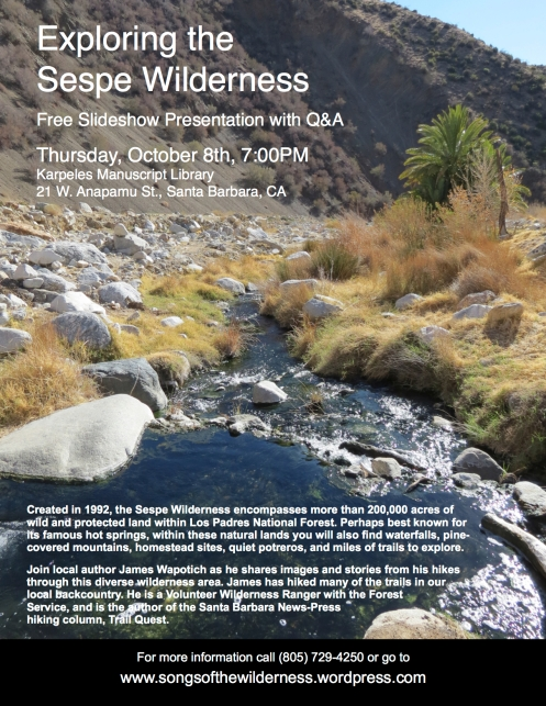 Sespe Wilderness Los Padres National Forest hiking backpacking trails