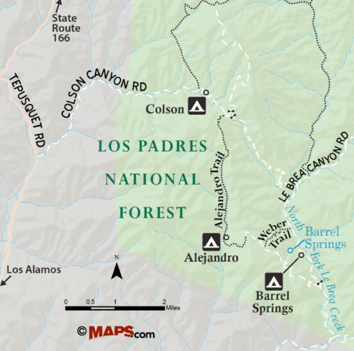 Alejandro Canyon Trail map hike Colson Barrel Spring La Brea Creek Weber Los Padres National Forest