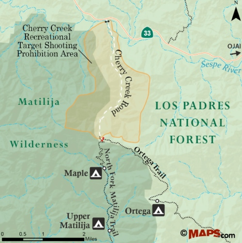 Cherry Creek Map recreation shooting prohibition area Matilija upper north fork maple road hike trail camp wilderness Los Padres National Forest Ojai