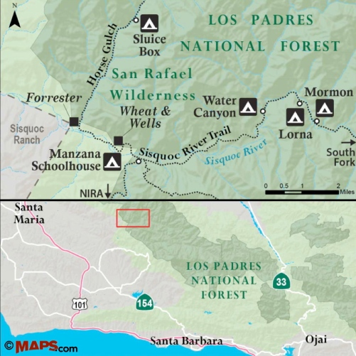 Sisquoc River Trail map Forrester homestead Wheat Wells Manzana Schoolhouse Water Canyon Lorna Mormon San Rafael Wilderness Los Padres National Forest