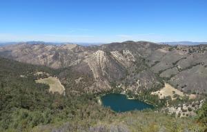 Zaca Lake is seen from Zaca Ridge, the San Rafael Mountains