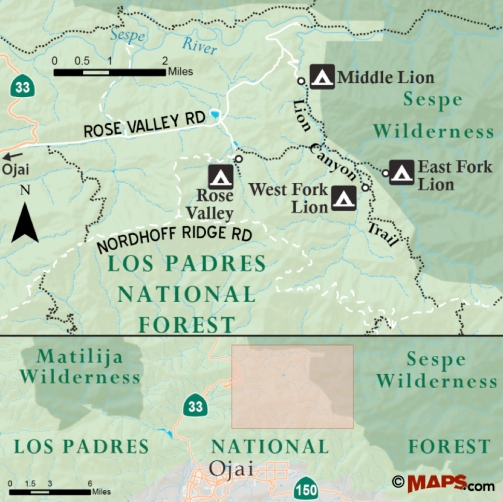 Lion Canyon Trail hike East West Fork Sepse Ojai Los Padres National Forest Middle