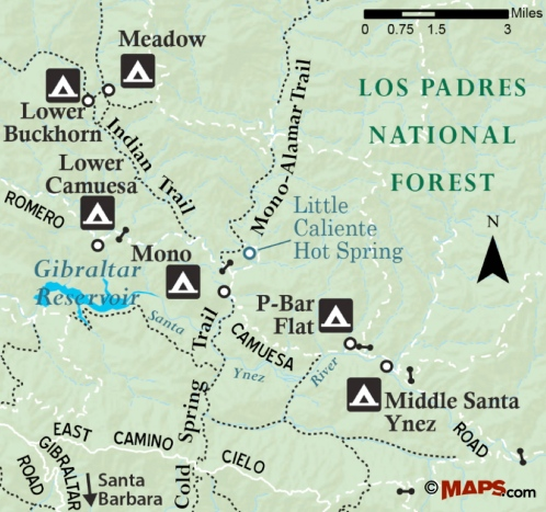 Mono Campground Map Indian Canyon Little caliente hike trail Lower Middle Camuesa P-Bar Flat Middle Santa Ynez River Campground Los Padres National Forest Cold Spring Trail