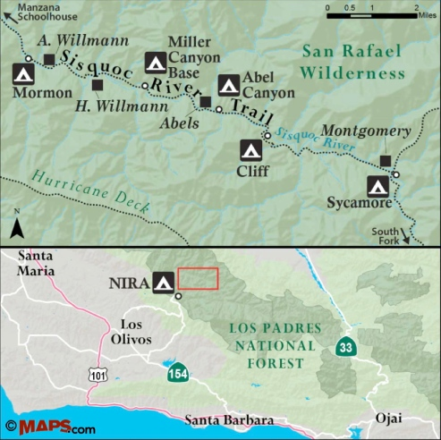 Sisquoc River Trail hike Map Mormon Wellman Willmann homestead Able Abel Cliff Sycamore Montgomery Miller Canyon Base Los Padres National Forest San Rafael Wilderness