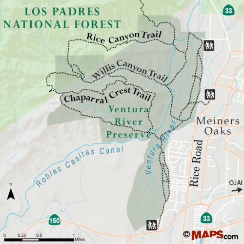 Ventura River Preserve map trail hike Ojai Meiners Oak El Nido Meadow Rice Canyon Willis