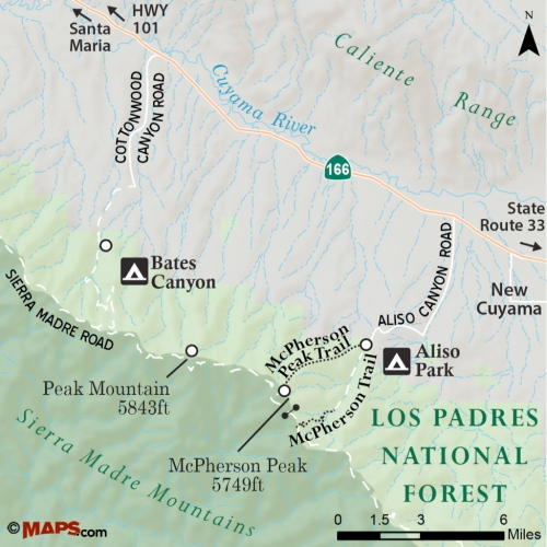 Map McPherson Peak Trail Aliso Canyon Park Sierra Madres Mountains San Rafael Wilderness Los Padres national forest