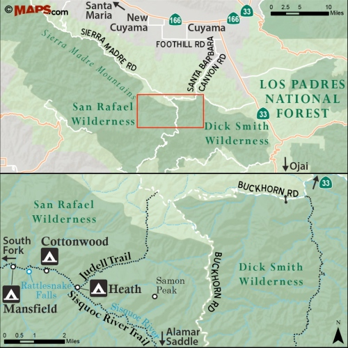 Map Judell Trail Rattlesnake Falls Sisquoc River Heath Cottonwood San Rafael Wilderness Los Padres National Forest