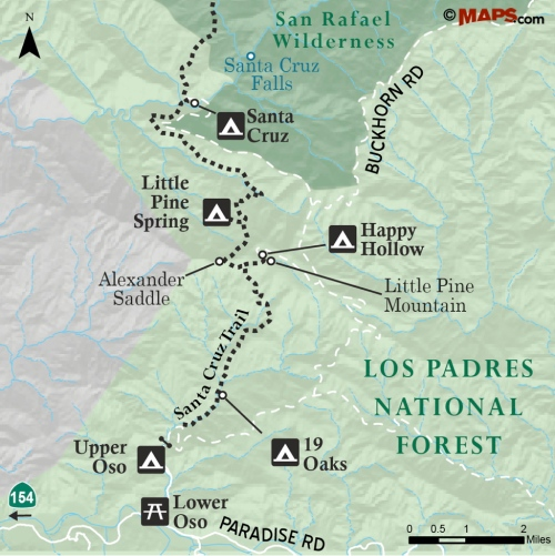 Map Santa Cruz Trail falls Little Pine Spring Happy Hollow 19 Oaks Upper Oso San Rafael Wilderness Los Padres National Forest