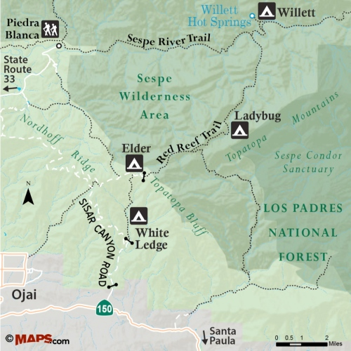 Map Sisar Canyon Red Reef Trail White Ledge Lady Bug Sespe Wilderness area topatopa Los padres national forest ojai