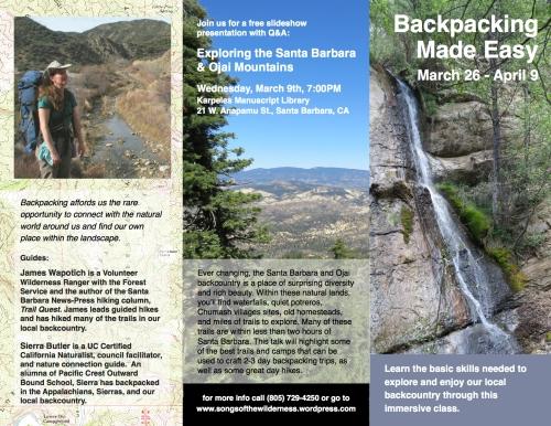 Backpacking class Santa Barbara Los Padres National Forest hiking trail skills