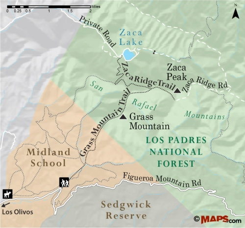 Midland School Trails Map Grass Mountain Zaca Peak Los Padres national forest