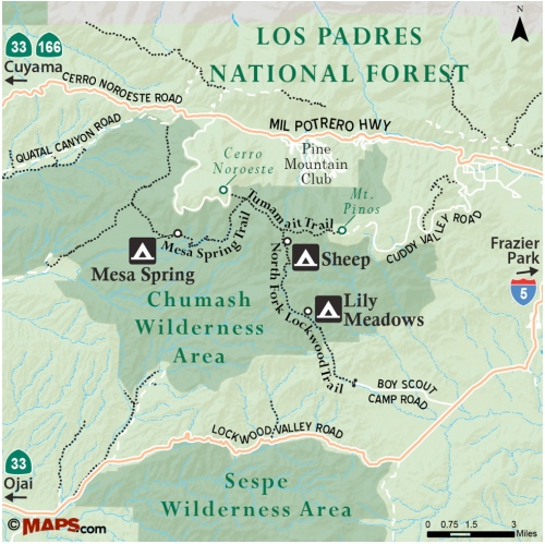 Map North Fork Lockwood Trail Mount Pinos Sheep Camp Lily Chumash Wilderness Los Padres National Forest
