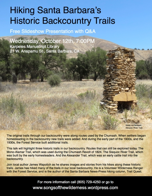 Hiking Santa Barbara's Historic Backcountry Trails backpacking los padres national forest wilderness homesteads mining cattle chumash routes