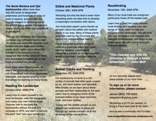 Wilderness Navigation backpacking nature connection trails skills class workshop Santa barbara los padres national forest Mike Kresky Lanny Kaufer Edible Medicinal Plants animal tracking