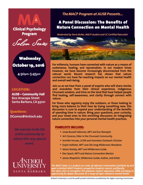 Benefits of Nature Connection on Mental Health Antioch University Linda Buzzell Saltzman Art Cisneros Jennifer Ferraez Doyle Hollister Alexis Slutzky Dan Spach