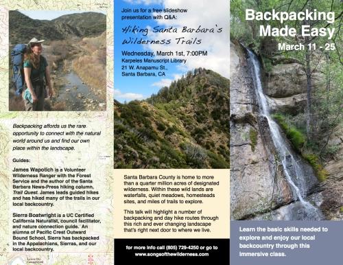 Backpacking class instruction workshop Santa Barbara hiking trails Los Padres National Forest wilderness