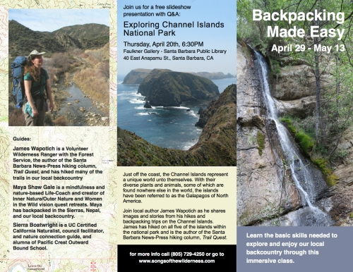 backpacking class Santa Barbara wilderness trails hiking skills trail instruction