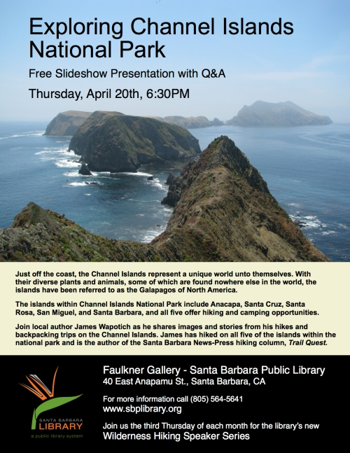 Channel Islands National Park Wilderness Hiking Speaker Series Santa Barbara
