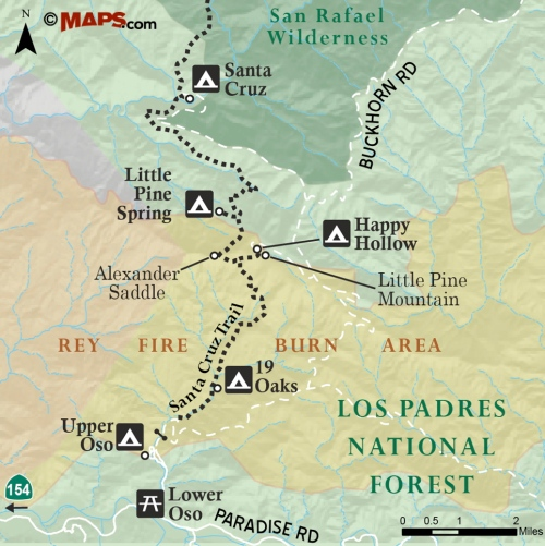 Santa Cruz Trail Map Rey Fire burn area Los Padres National Forest